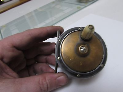 """Vintage early brass Slater hercules style trout fly fishing reel 2.5"""" WIDE DRUM"""