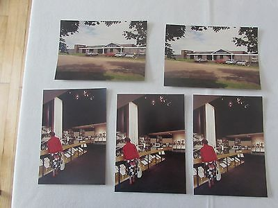 set 5 vintage House Hardy alnwick fishing reel rod tackle museum shop postcard .