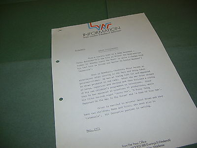 Peter Butterworth 1971 UK London Weekend Television (LWT) Press Release
