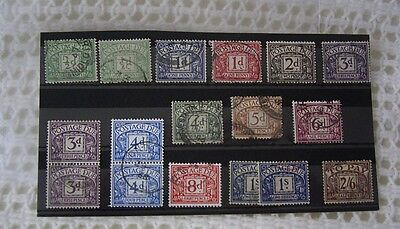 GREAT BRITAIN PRE-DECIMAL POSTAGE DUE STAMPS WITH VALUES TO 2/6d