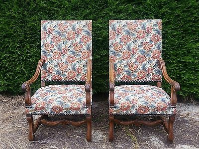 French Antique Pair Fauteuil Upholstered Carved Armchairs.