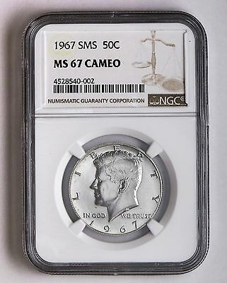 1967 SMS 50c Silver Kennedy Half Dollar NGC MS 67 Cameo