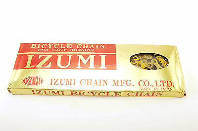 NEW Izumi Easy Running Gold/Black 5-6-7 speed road chain 1/2x3/32 116 links NOS