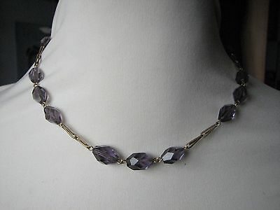Vintage Deco Czech Amethyst Faceted glass beads Necklace Gold Tone Chain