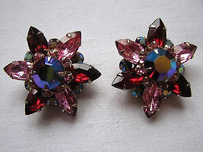 Vintage Large Red Aurora Borealis Glass Stones Clip On Earrings Beau Jewels
