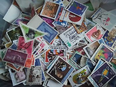 Collection Mixture Lot of 100 World USED stamps OFF paper - added to daily