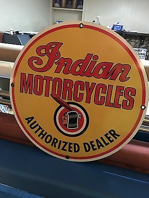 """Indian Motorcycles Sign Large 24"""" Antique Porcelain Look Vintage Old Style"""