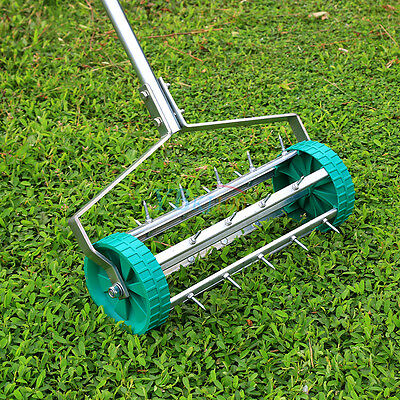 Rolling Grass Garden Lawn Aerator Roller Aluminium Handle Power Tool No Noise 5+
