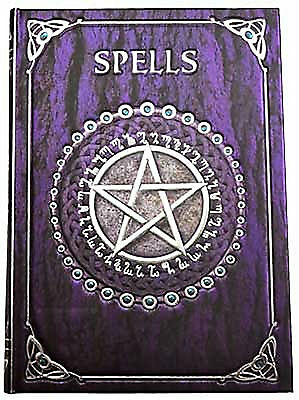 """Purple & Silver """"SPELLS"""" BLANK BOS Unlined Book of Shadows Wicca Witch Journal"""