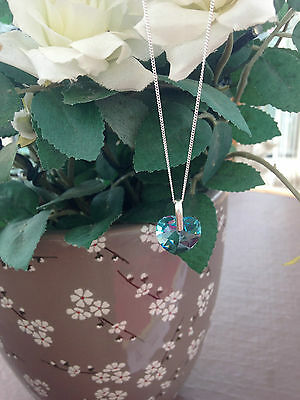 Stunning Austrian Turquoise Crystal Heart Pendant With Chain in Sterling Silver