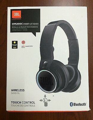 JBL Synchros S400BT+ Bluetooth Wireless On-Ear Stereo Headphones - Black -In Box