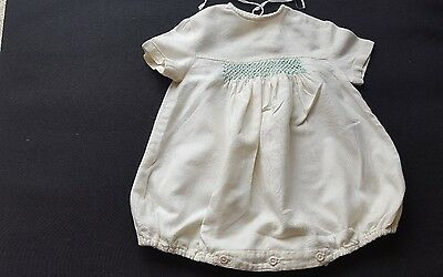 Vintage Handmade Smocked Traditional flannelette Romper Suit Baby 6-9 Months