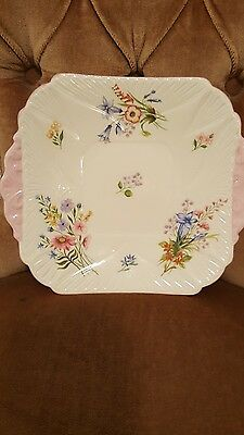 Vintage Shelley Cake Plate ,wild Flowers ,  Good Condition