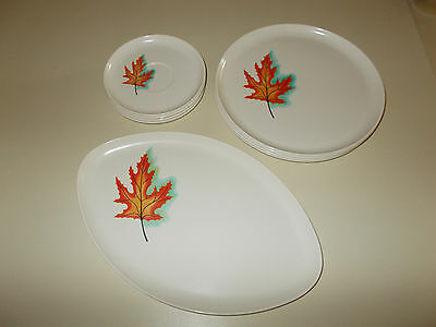 9 pc Spaulding Ware Melmac Dishes ~ White with Orange Maple Leaf ~ NICE!