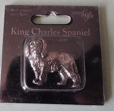KING CHARLES SPANIEL  Silvertone Metal  Dog Mini Magnet Charm by Little Gifts