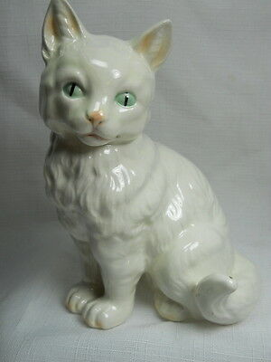 Vintage Handpainted White Porcelain CAT Figurine - Made in GERMANY