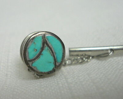 Antique Handcrafted TURQUOISE Sterling Silver 925 Vintage Estate Tie Tack