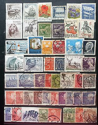 SWEDEN  GREAT LOT of 50 all-different  OLD STAMPS used    Lot #1