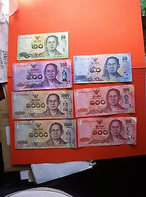 Thailand 7 X Bank Notes Total Thb 2770.00 ( 2 X 1,000's Are In Cons; Nos )