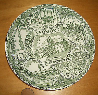 """Green Vintage Vermont State commorative 7"""" plate"""