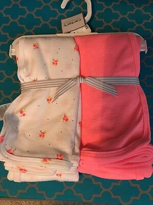 NWT Carter's Baby Girl Bright Pink Floral Swaddle Blankets - 2 Pack