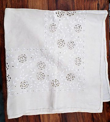 Vintage Silk Embroidered Linen Tablecloth.