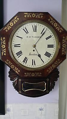 Beautifull Single Fusee wall Clock in a Rosewood Case fully working