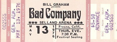 Bad Company 1976 Run With the Pack Tour Concert Fresno Unused Full Ticket