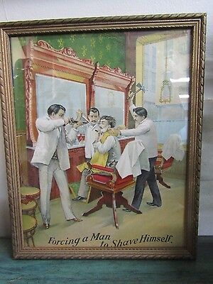 "1898 Williams Shaving Soap Framed Advertising ""Forcing a Man to Shave Himself."