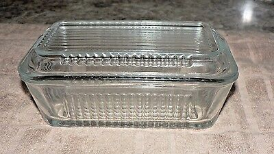vintage large glass refrigerator butter dish w.lid