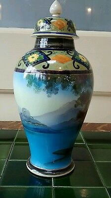 Impressive Noritake baulster vase and cover with landscape pattern