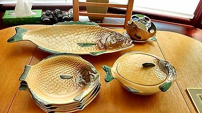 Shorter &.Son Ltd Hand Painted Fish Set with Very Large Serving Platter.VG.Cond