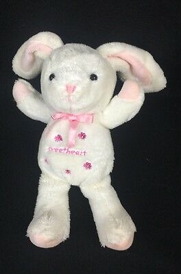 Carters White Pink Bunny Rabbit Sweetheart Plush Baby Toy Rattle Flowers Lovey
