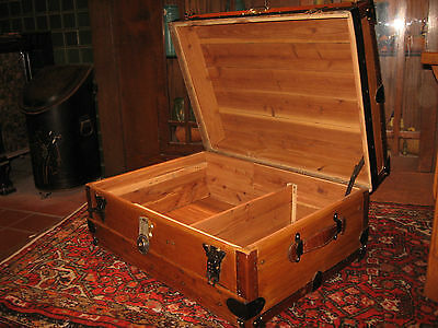 Antique Restored Semi Flat Top Trunk Stage Coach Chest Cedar Lined Coffee Table