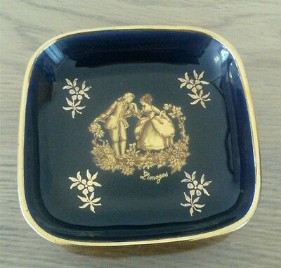 Limoges France Cobalt Blue & Gold Courting Couple Pin Trinket Dish