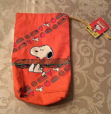 Vintage Snoopy Peanuts Plastic Lined Canvas Lunch Bag NEW