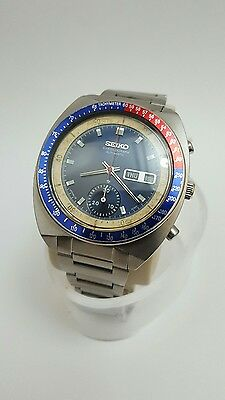Vintage seiko chronograph pepsi pouge 6139 6002 gents mens automatic watch