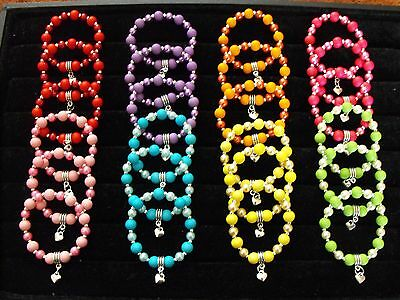 Wholesale Jewellery Childrens Job Lot 24 Beaded Charm Bracelets, Neon,party Bags