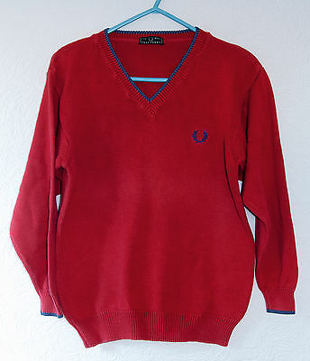 Retro Size 8 Yrs Boys Red & Blue Fred Perry Vintage Italian Made V-Neck Jumper