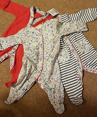 NEW! 3 Pack Baby Girl Next Sleepsuits First Size 7.8lbs