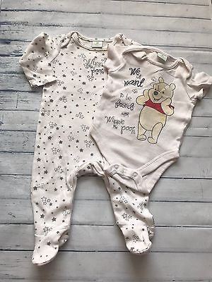 Unisex Baby Clothes 0-3 Months - Disney Stripped Baby Grow & Vest
