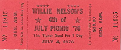 Willie Nelson 1976 4th of July Picnic Unused EX 2 NM Ticket / Wyalon Jennings