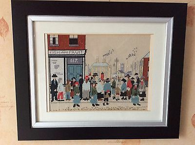 DETAILED L.S LOWRY CROSS STITCH - STUNNING Completed & Beautiful