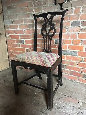 Antique Georgian Chippendale Style Mahogany Dining Hall Chair for Restoration