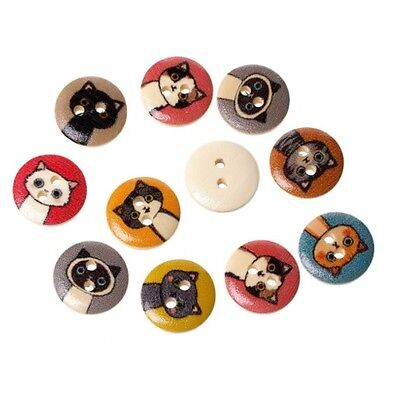 Kawaii Cat Natural Wooden Wood Buttons 15mm Zakka Sewing Craft 5 10 20 50 100