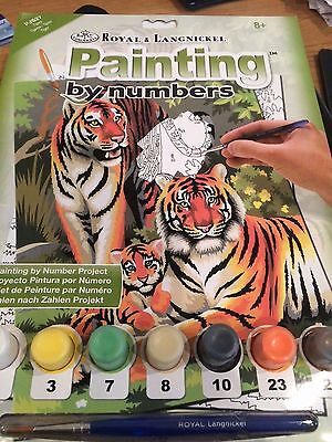 Tiger Family Painting by numbers  Royal & Langnickel 8+