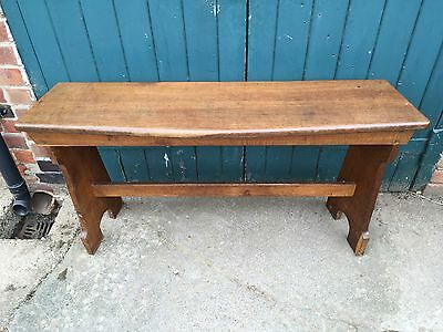 Antique Late Victorian Golden Oak Church Chapel Organ Bench (Curved Window Seat)