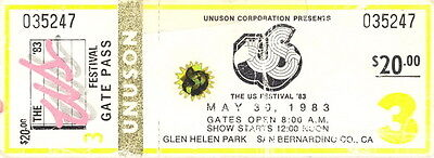 David Bowie / U2 / Stevie Nicks 1983 US Festival Unused Full Day 3 Ticket