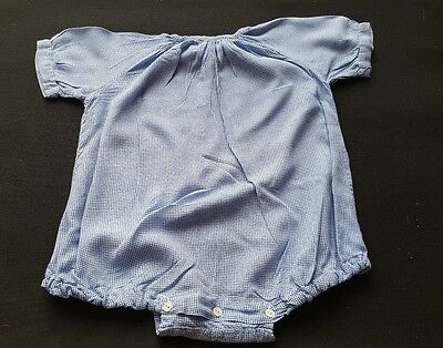 Vintage Traditional Blue and white check Cotton Romper Suit Baby 6-9 Months