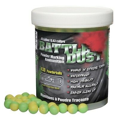 .43 caliber Dust Powder Balls Paintball 430ct Jar Green/Yellow 11mm waterproof